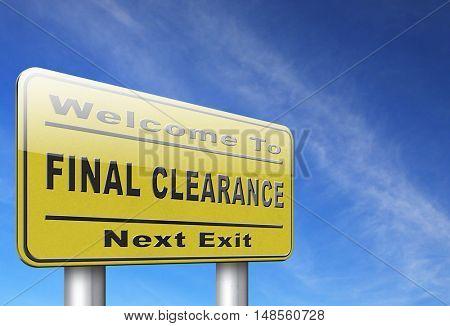 final clearance and big stock sale road sign for webshop sales or web shop billboard 3D, illustration