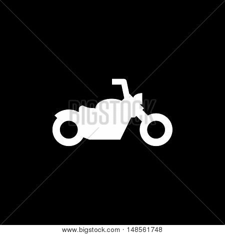 Chopper motorcycle icon isolated on black. Vector illustration