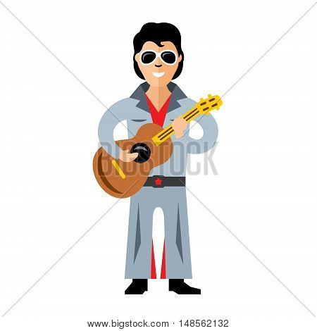 Bidder twins Elvis Presley. Isolated on a white background