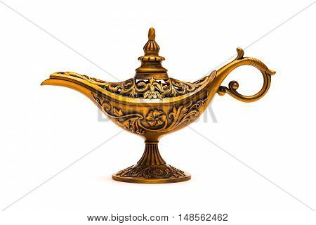 Vintage lamp of Aladdin on white background