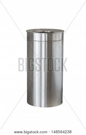 trash made of stainless steel isolated on white background poster