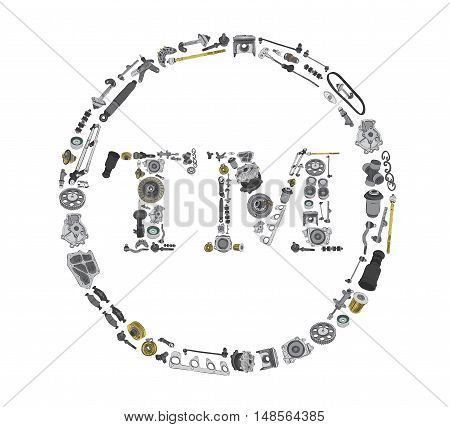 Many auto parts isolated in Trade Mark icone