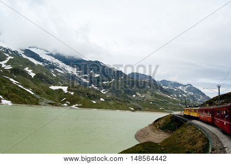 Swiss mountain train Bernina Express crossed through the high montainssuisse