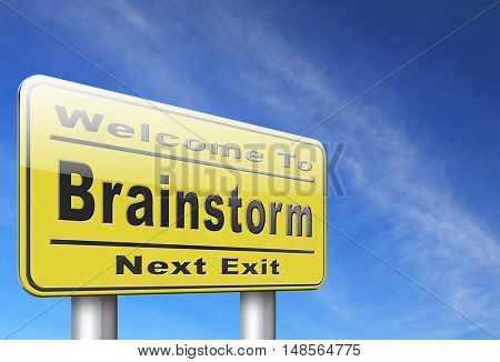 Brainstorm teamwork to creative fresh idea or solution team brainstorming search innovation and inspiration think tank, road sign billboard. 3D, illustration