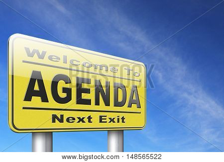 agenda timetable and business schedule organizing and planning time use for meetings and organize organization, road sign billboard. 3D, illustration