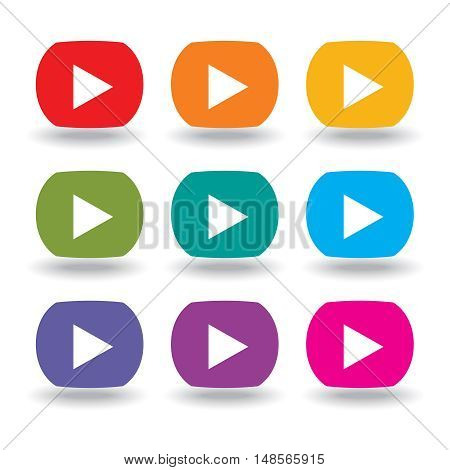 A set of nine movie buttons in rainbow colors
