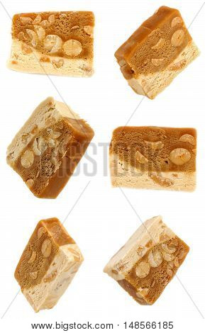 Nougat With Nuts From Different Angles. Isolation On White Background