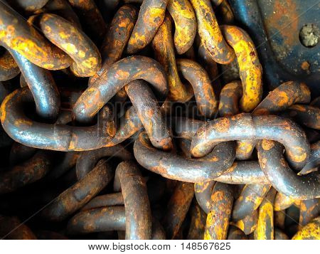 Pile of old rusted chains closeup background