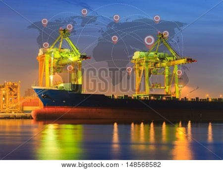 Container ship in importexport port morning light of loading ship yard use for freight and cargo shipping vessel transport