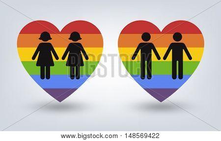 Rainbow heart. Vector illustration, eps 10. Gay flag. Gay family. Vector icon of rainbow heart, lgbt community sign