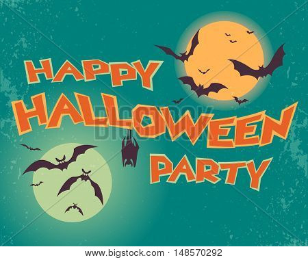 Happy halloween party. Text. Bats on a background of sunset and the Moon. Stock vector illustration.