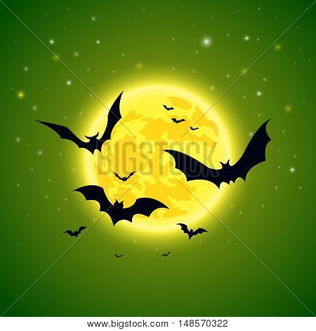Halloween. Bats on a background of starry sky and full yellow moon. Stock vector illustration.