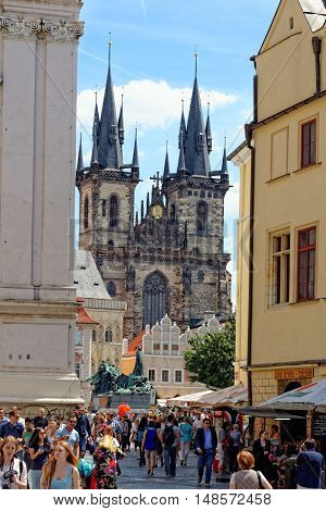 PRAGUE, CZECH REPUBLIC - JULY 3, 2014: Church of our Lady before Tyn - Tyn Church in the Old town square. The church's name originates from the Tyn Courtyard behind the church.
