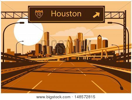 Vector illustration of Houston skyline with freeway sign