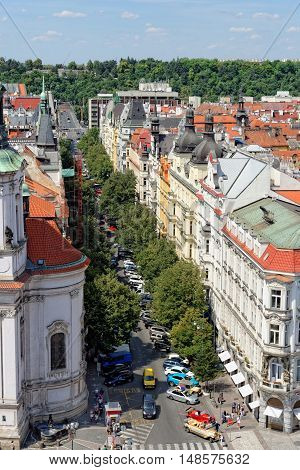 Aerial view of Parizska Street the widest street of the Old Town of Prague Czech Republic. It is the entrance to the Old Jewish Quarter. The street is full of luxury boutiques.