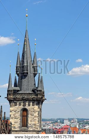 One of the towers of Church of our Lady before Tyn - Tyn Church in the Old town square. The name of the church originates from the Tyn Courtyard behind the church.
