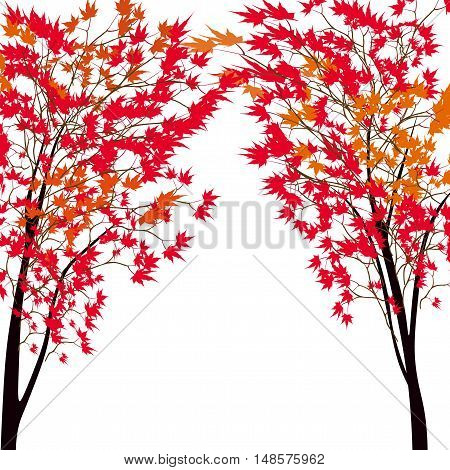 Card with autumn maple tree. Red maples. Japanese red maple. Vector illustration