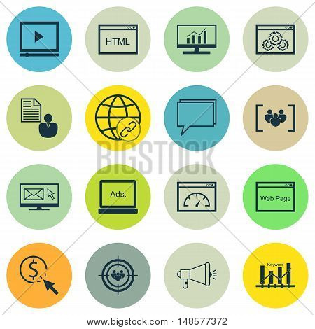 Set Of Seo, Marketing And Advertising Icons On Display Advertising, Video Advertising, Online Consul