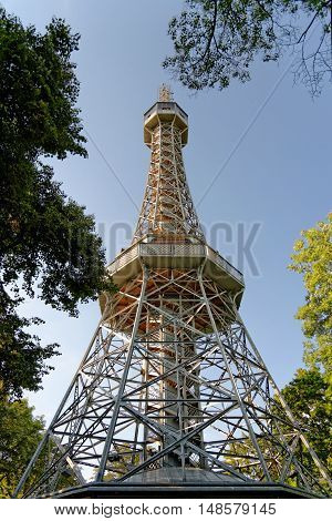 The Petrin lookout tower on Petrin Hill in Prague Czech Republic. It is built in 1891 and is a 63.5 metre high. It resembles the Eiffel Tower and is a major tourist attraction.