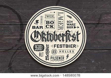 Beverage coaster for beer with hand drawn lettering for Oktoberfest Beer Festival. Vintage drawing for bar, pub, beer themes. Circle for placing a beer mug or a beer bottle. Vector Illustration