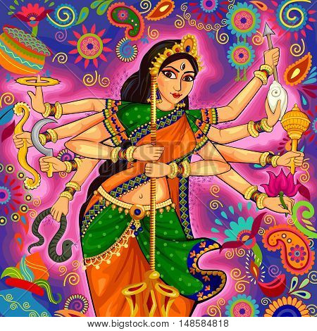 Vector design of Goddess Durga in floral Durga Puja Dussehra background