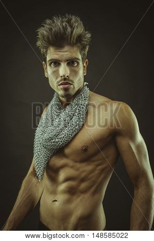 muscular man brown hair, caucasian young Spanish naked torso with abdominal