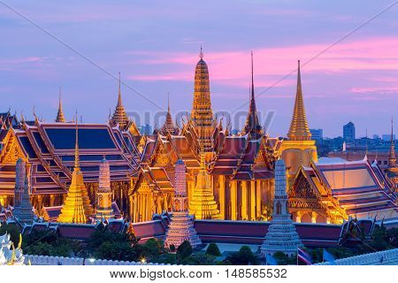 Bangkok skylineWat Phra Kaew the famous place in Bangkok temple of the emerald Buddha and Grand Palace in Bangkok Thailand