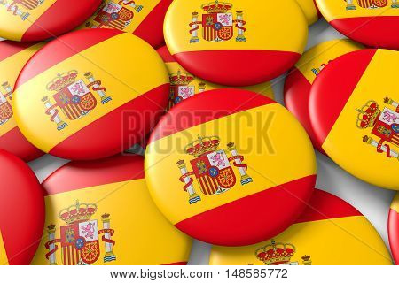 Background made with shiny spain ensigns with spanish flag. 3d render 3d illustration
