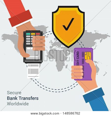 Flat design vector concept of secure bank transfers worldwide or mobile payment banking online. Two hands with credit card and atm terminal on background map of the world with safe yellow shield