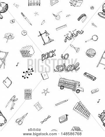 Back To School. Hand Drawn Background. Ideal Quality Sketch Drawing seamless pattern for Schooling design. Vivid elements, signs, symbols about Learning. Itemized Doodle objects. Vector Illustration.