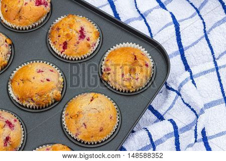 Freshly baked raspberry and chocolate chip muffins