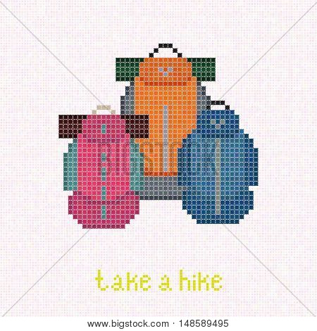 Take a Hike! Trekking rucksacks. Pixel art banner. Family Backpacking with Lightweight Gear. Family set: Pink, blue and orange backpacks with sleeping pads. Outdoor Equipment. Colorful travel bags.