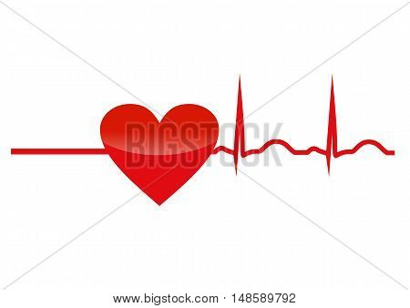 Resuscitation red heart with cardiogram. Vector icon symbol concept of new life