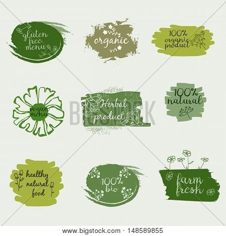 Labels with healthy and natural food diet designs. Organic food tags and elements set for meal and drinkcafe restaurants and organic products packaging.Vector illustrated bio detox logo.