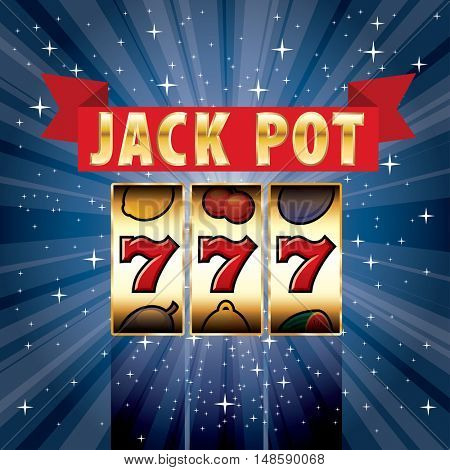 vector three seven jackpot on starry night, gambling background