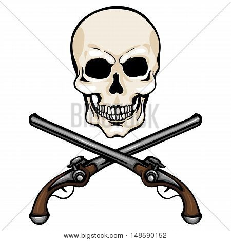 Vector Single Cartoon Skull With Cross Pistols