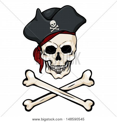 Vector Cartoon Pirate Skull In Tricorn With Cross Bones