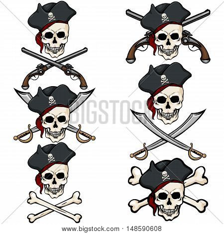 Vector Set Of Cartoon Pirate Skulls In Tricorn