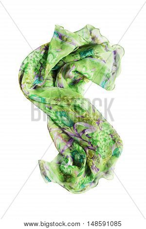 Folded green silk kerchief isolated over white