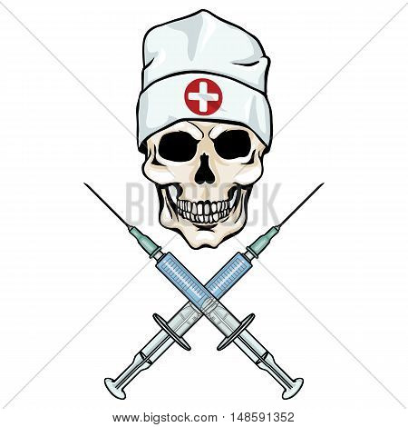 Vector Character - Skull Doctor And Crossed Syringes