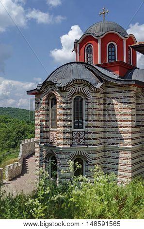 Giginski monastery, Bulgaria - June 25, 2016: Part of new church in restored Montenegrin or Giginski monastery  St. St. Cosmas and Damian, mountain Kitka, Breznik, Pernik region, Bulgaria.  Visit in the place circa June 2016.
