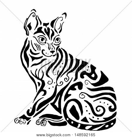 Hiqh quality egyptian cat for coloring or tattoo, cornish cat