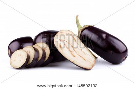 Eggplants or aubergines isolated on white background.