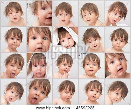 Emotion face of cute baby. Portraits set.