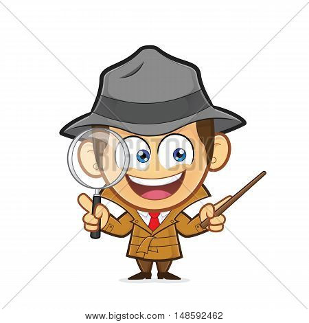 Clipart picture of a detective cartoon character explaining something