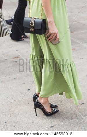 Detail Of Bag And Shoes At Milan Fashion Week