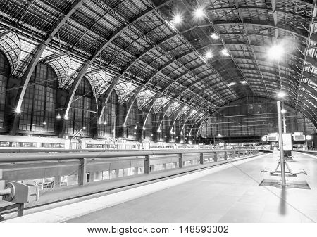 ANTWERP, BELGIUM - 10 SEPT. 2016: The interior of the Central Railway Station in Antwerp, Belgium. It is considered one of the most beautiful in Europe.