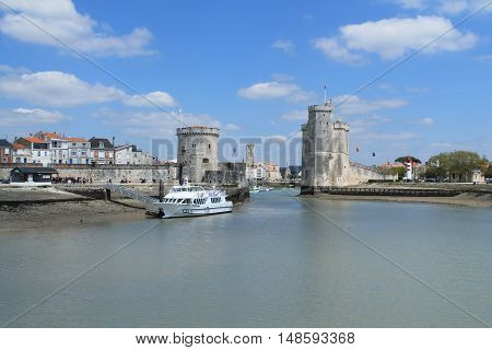 Medieval towers of La Rochelle, the French city and seaport located on the Bay of Biscay, a part of the Atlantic Ocean
