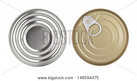 cans top view without labels canned food industrial production different packaging