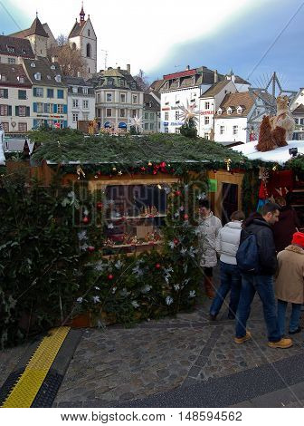 1 december 2007-basel-suisse- streets of basel in December during the Christmas marketssuisse